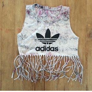 Rare Adidas Logo Crop Fringe Top✨